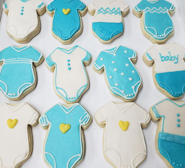 baby shower onsie sugar cookies