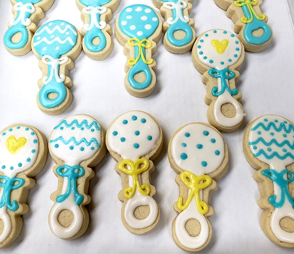 baby shower rattle sugar cookies