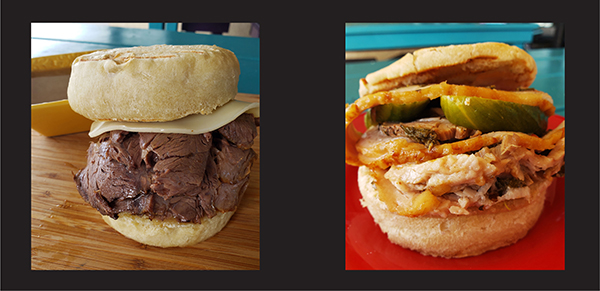 Toby flip, porchetta and big beef dip