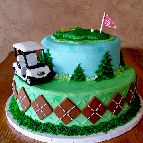 2 Tier Golf Cake with Cart